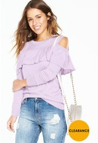 V By Very Petite PETITE Cold Shoulder Ruffle Jumper - Lilac