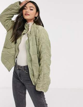 Free People Dolman quilted jacket-Green