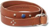 Maison Margiela Embellished Leather Silver Wrap Bracelet