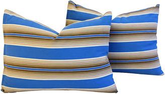 One Kings Lane Vintage Blue & Tan French Ticking Pillows - Set of 2