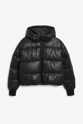 Monki Faux leather puffer jacket