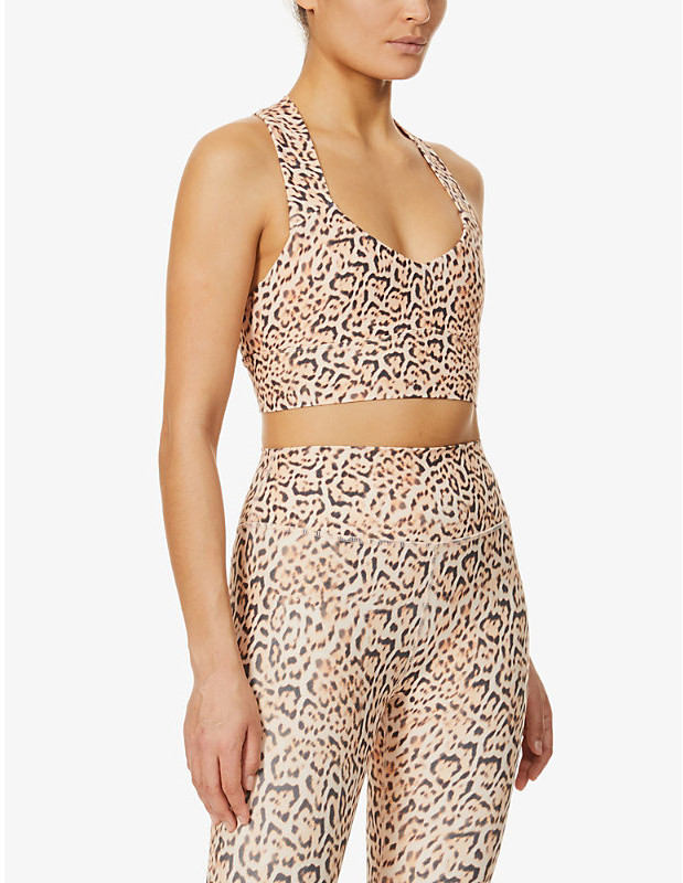 Eco leopard-print stretch-recycled polyester sports bra