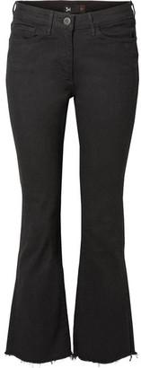 3x1 W25 Crop Distressed Mid-rise Flared Jeans - Black