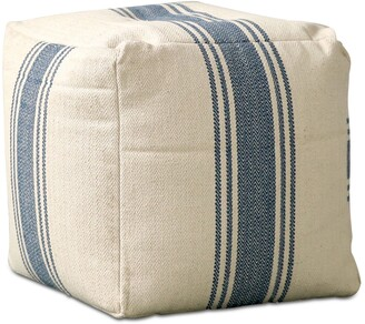 """Bloomingville 16"""" Square Pouf with Stripes"""