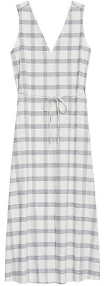 Theory Plaid V-Neck Maxi Dress