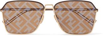 Fendi Square-Frame Logo-Print Silver-Tone Sunglasses