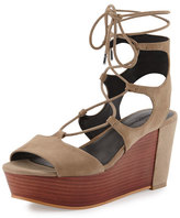 Rebecca Minkoff Cady Lace-Up Platform Wedge Sandal, Taupe