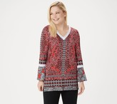 Susan Graver Printed Liquid Knit Tunic with Crochet Lace