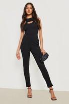 boohoo Eva Crepe Stretch Skinny Trousers black