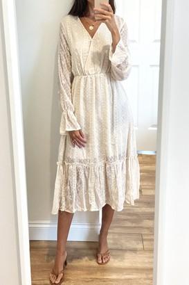 Gini London Beige Long Sleeve Ruffle Hem Midi Dress
