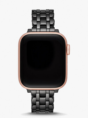 Kate Spade Black Stainless Steel Scallop Bracelet Band For Apple Watch