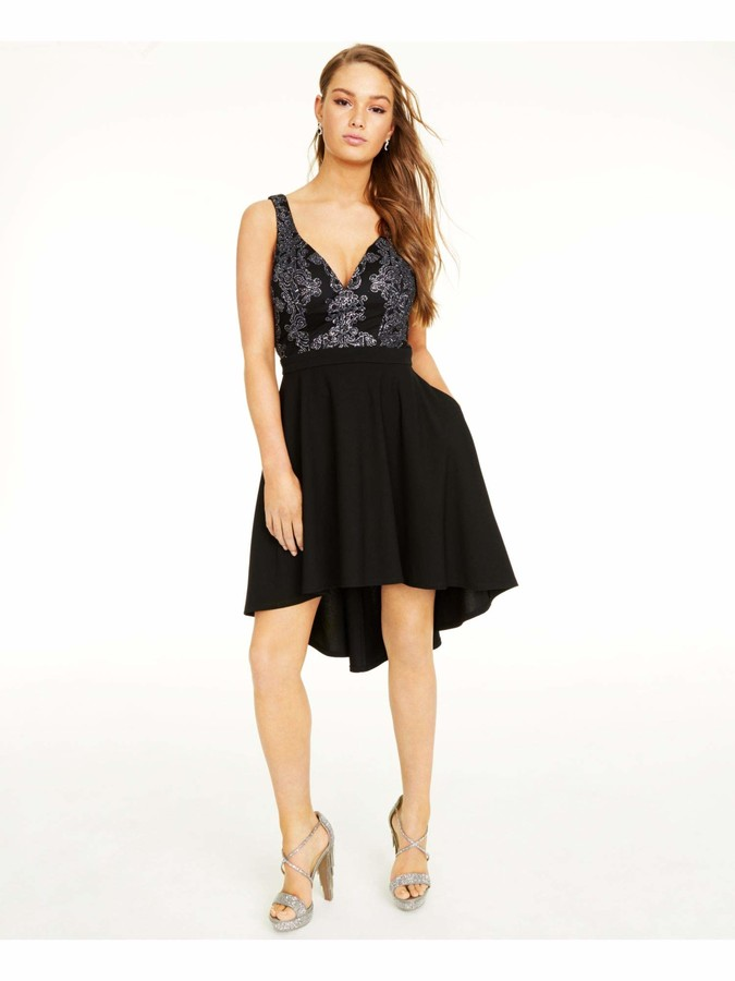 Speechless Womens Black Printed Spaghetti Strap V Neck Below The Knee Hi-Lo Prom Dress Juniors US Size: 13
