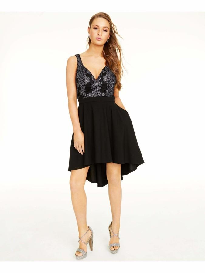 Speechless Womens Black Printed Spaghetti Strap V Neck Below The Knee Hi-Lo Prom Dress Juniors US Size: 3
