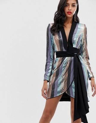 Asos DESIGN tux mini dress in stripe sequin embellishment