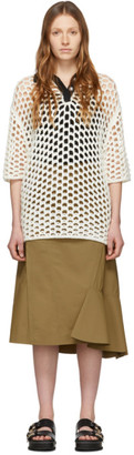 3.1 Phillip Lim White Wool Open Knit Polo Dress