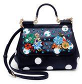 Dolce & Gabbana Sicily Embellished Polka Dot Leather Top Handle Satchel