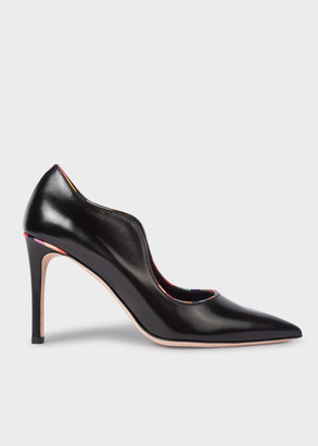 Paul Smith Women's Black Leather 'Etty' Heels With 'Swirl' Trims