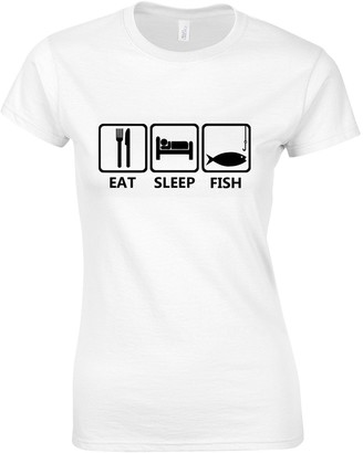 Crown Designs Eat Sleep Fish for Women & Teenagers Fitted T-Shirts Tops - White/XXL - 14/16