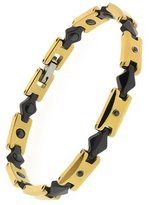 "Gem Stone King 8"" Gold and Black Ceramic Link Bracelet With Black Diamonds and Magnets"