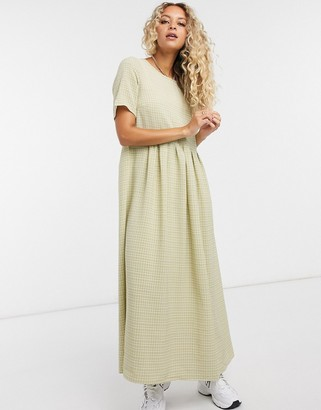 Glamorous maxi smock dress in grid check