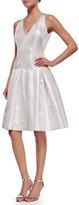 Carmen Marc Valvo Sleeveless Metallic Fit & Flare Dress