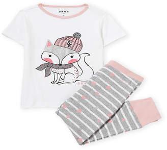DKNY Girls) Two-Piece Glitter Fox Tee & Jogger Set