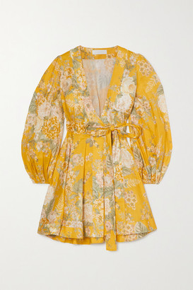 Zimmermann Amelie Floral-print Linen Mini Wrap Dress - Mustard