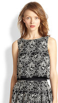 Tibi Embroidered Cotton Cropped Top