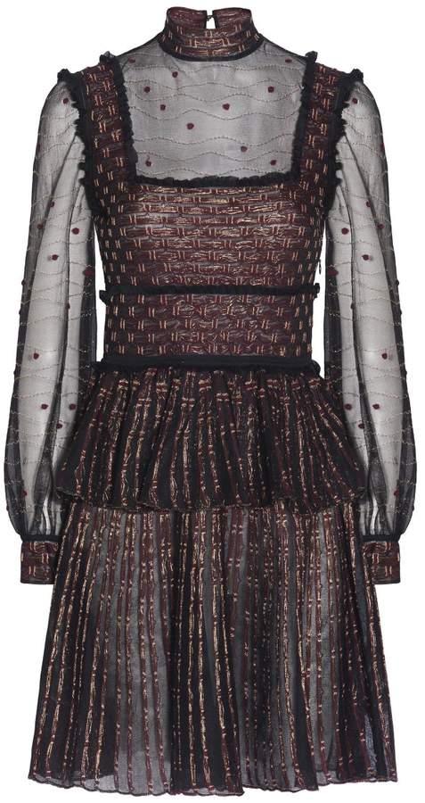 Alexander McQueen Patchwork Sheer Lace Mini Dress