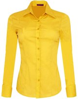 Iron Puppy Womens Long Sleeve Skinny Button Down Collared Shirts With Stretch XXX-Large