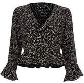 River Island Womens Black polka dot frill sleeve crop top