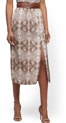 New York & Co. Petite Snake-Print Slip Skirt