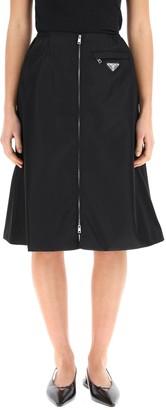 Prada Re-Nylon Gabardine Flared Skirt