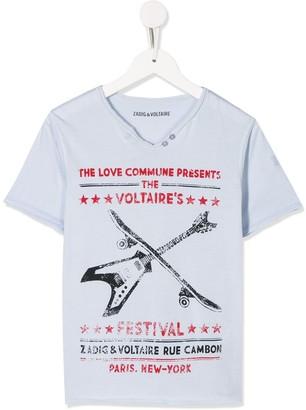 Zadig & Voltaire Kids Boxer poster print T-shirt