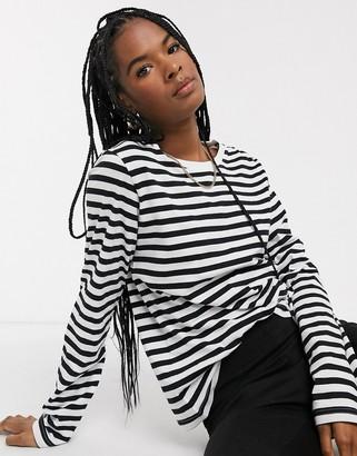 Weekday Alanis long sleeve tee in black and white stripe