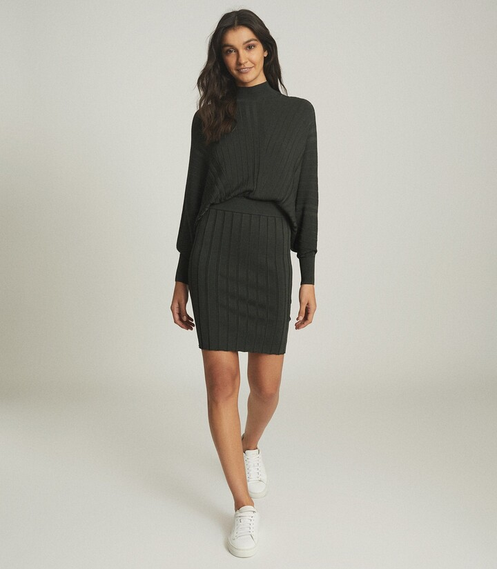 Reiss Harry - Batwing Knitted Dress in Khaki