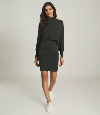 Reiss Harry - Batwing Knitted Dress in Khaki