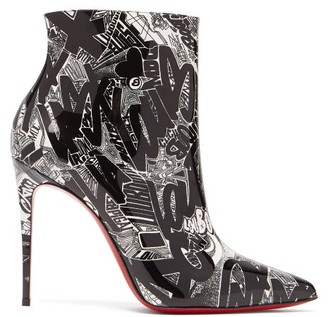 Christian Louboutin So Kate 100 Nicograf-print Ankle Boots - Black White