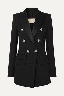 Alexandre Vauthier Crystal-embellished Double-breasted Grain De Poudre Wool Blazer - Black