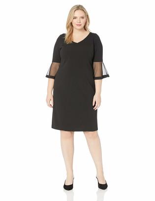 Alex Evenings Women's Plus Size Short Shift Dress W/Bell Sleeves