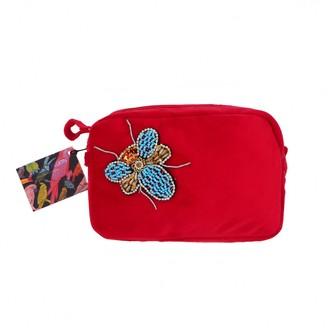 Laines London Red Velvet Bag With Beaded Bug Brooch