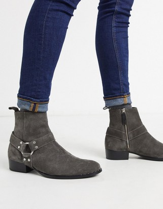 Walk London brand cuban boots in gray suede