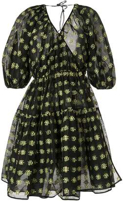 Cecilie Bahnsen floral bell sleeve wrap dress