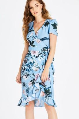 Little Mistress Rori Blue Floral Midi Wrap Dress