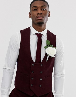 Asos Design DESIGN wedding super skinny suit vest in burgundy twill-Red