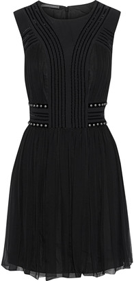 Alberta Ferretti Studded Velvet-trimmed Pleated Silk-chiffon Mini Dress