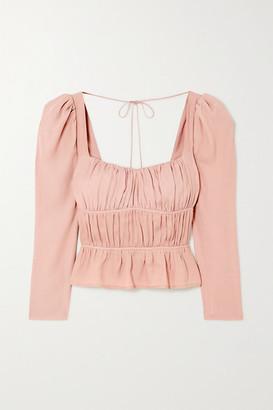 Reformation Net Sustain Plath Shirred Crepe Blouse - Blush