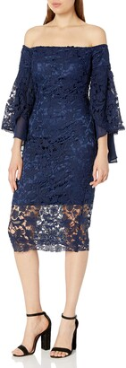 Laundry by Shelli Segal Women's Off The Shoulder Venise Dress with Tulip Sleeves