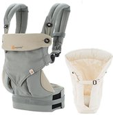 Ergobaby Bundle - 2 Items: Grey Four Position 360 Baby Carrier and Natural Heart2Heart Infant Insert