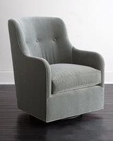 Horchow Cali St. Clair Aqua Velvet Swivel Chair